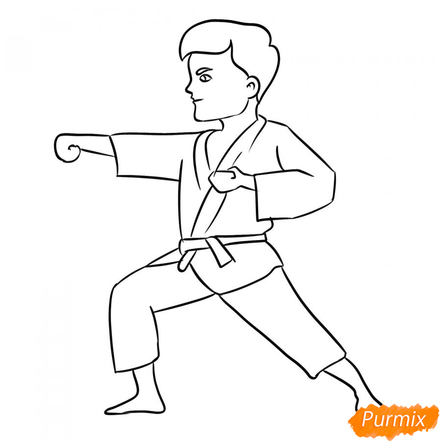 Рисуем каратиста карандашами - шаг 6