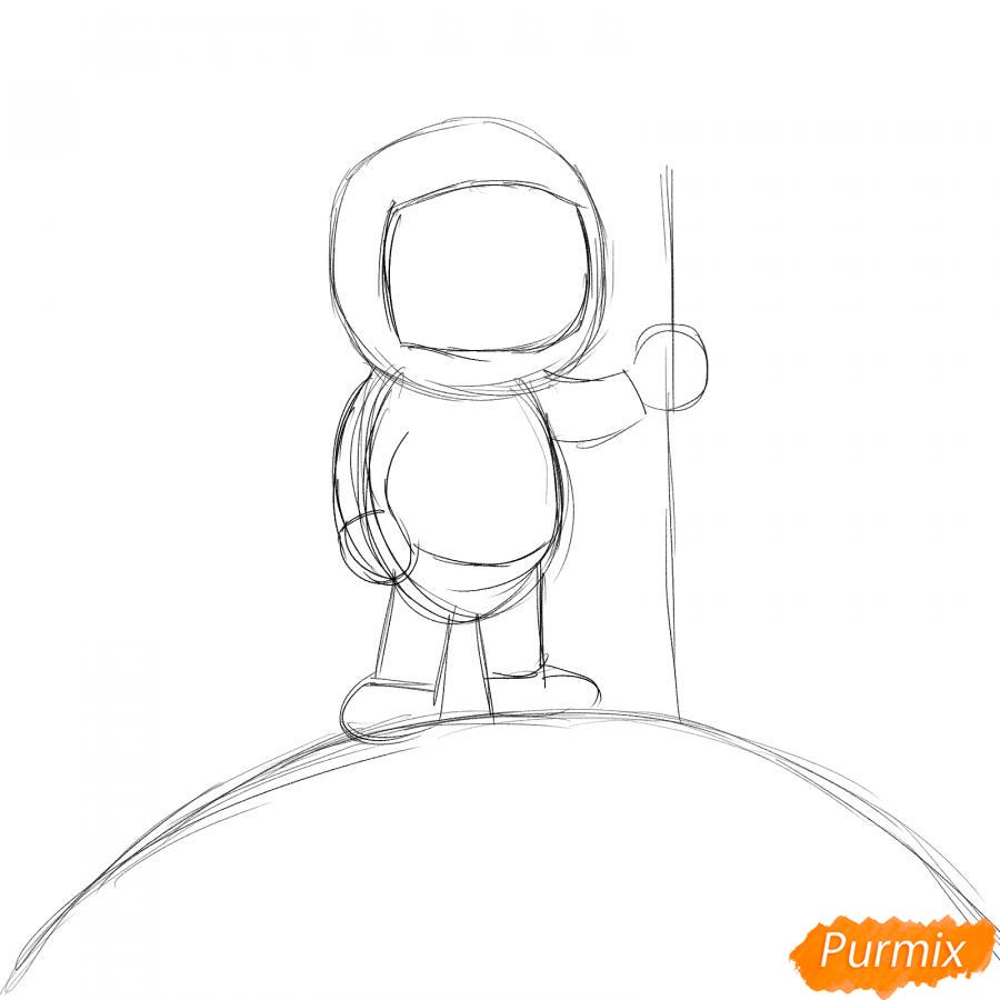 Рисуем космонавта на луне - шаг 2