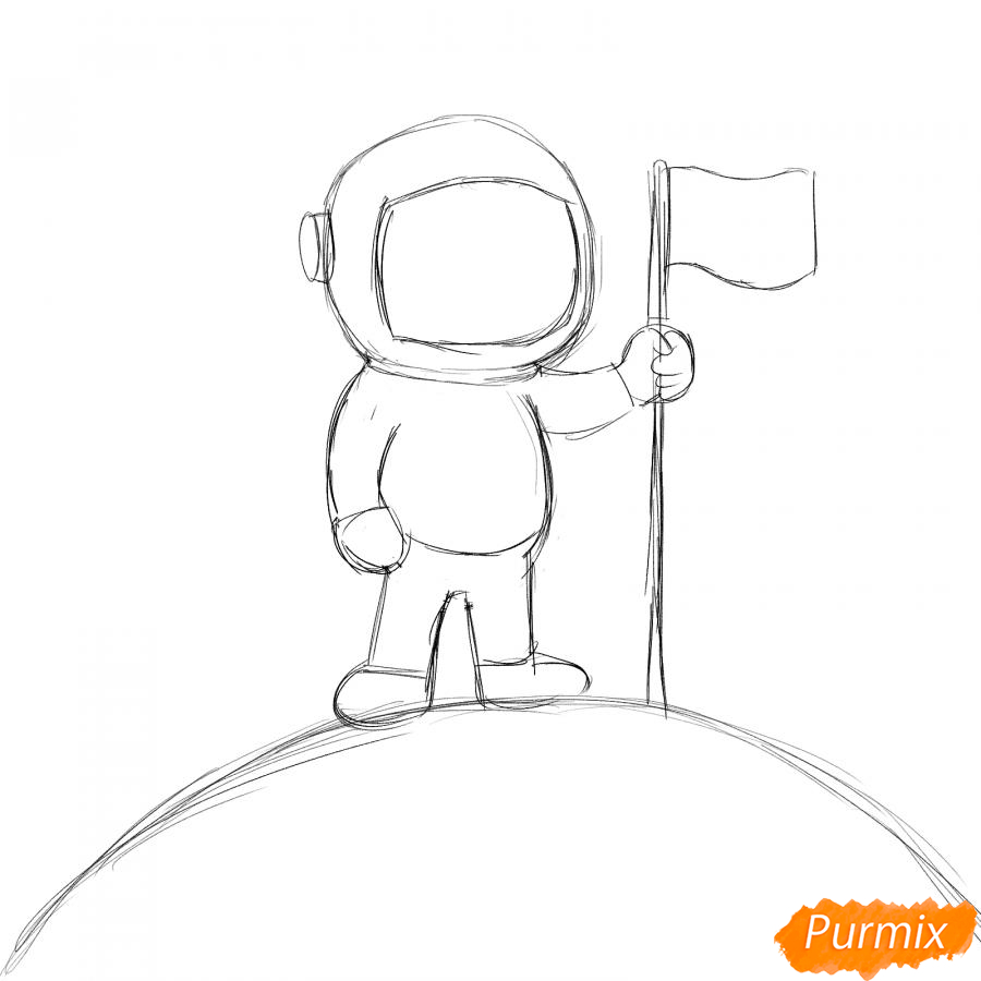 Рисуем космонавта на луне - шаг 3