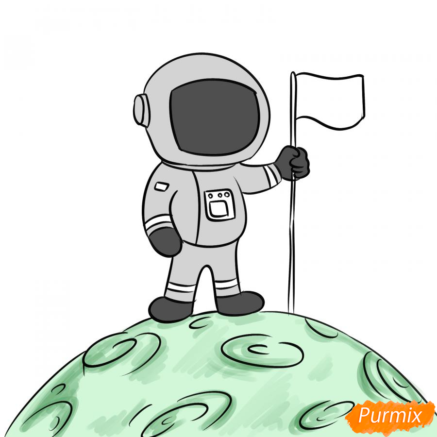 Рисуем космонавта на луне - шаг 7