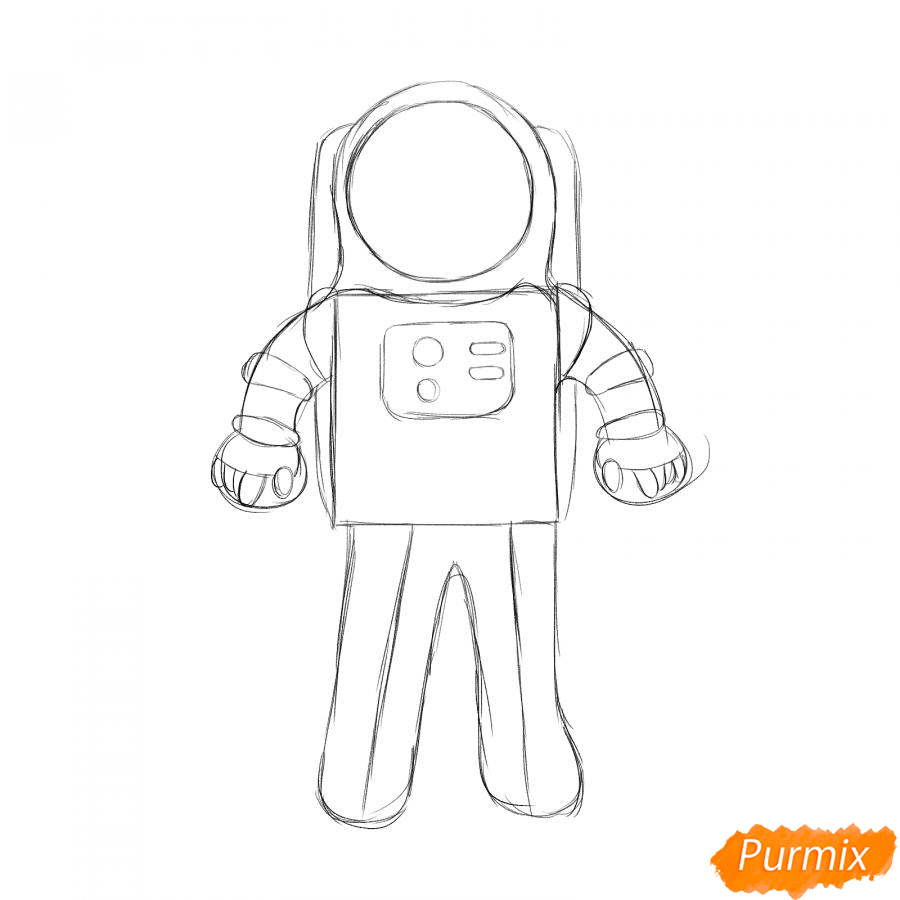 Рисуем космонавта - шаг 3