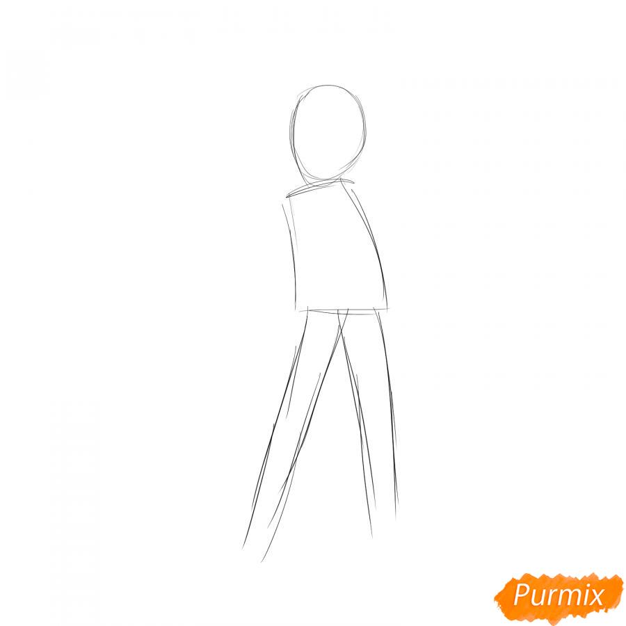 Рисуем лыжника девушку - шаг 1