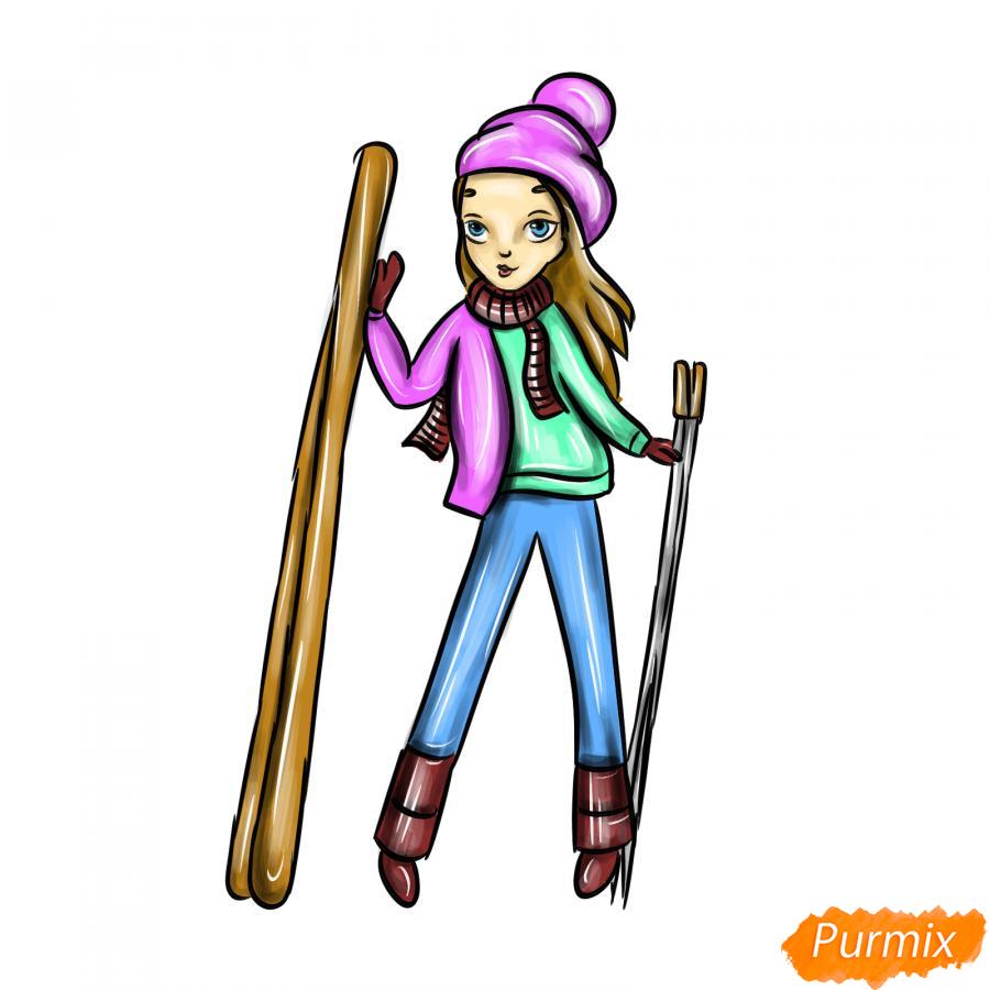 Рисуем лыжника девушку - шаг 10