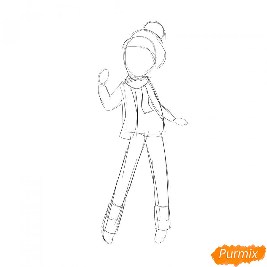 Рисуем лыжника девушку - шаг 2