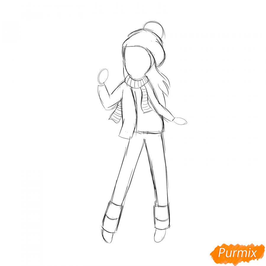 Рисуем лыжника девушку - шаг 3
