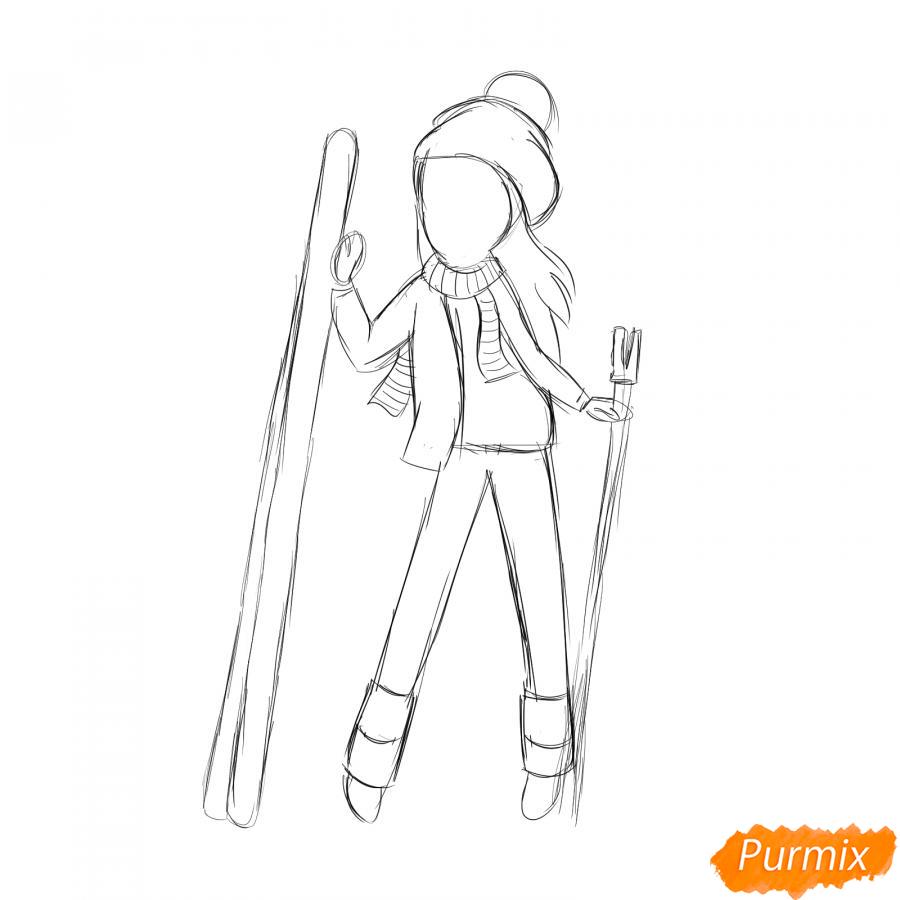 Рисуем лыжника девушку - шаг 4