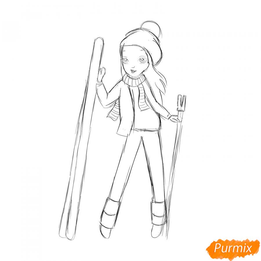 Рисуем лыжника девушку - шаг 5