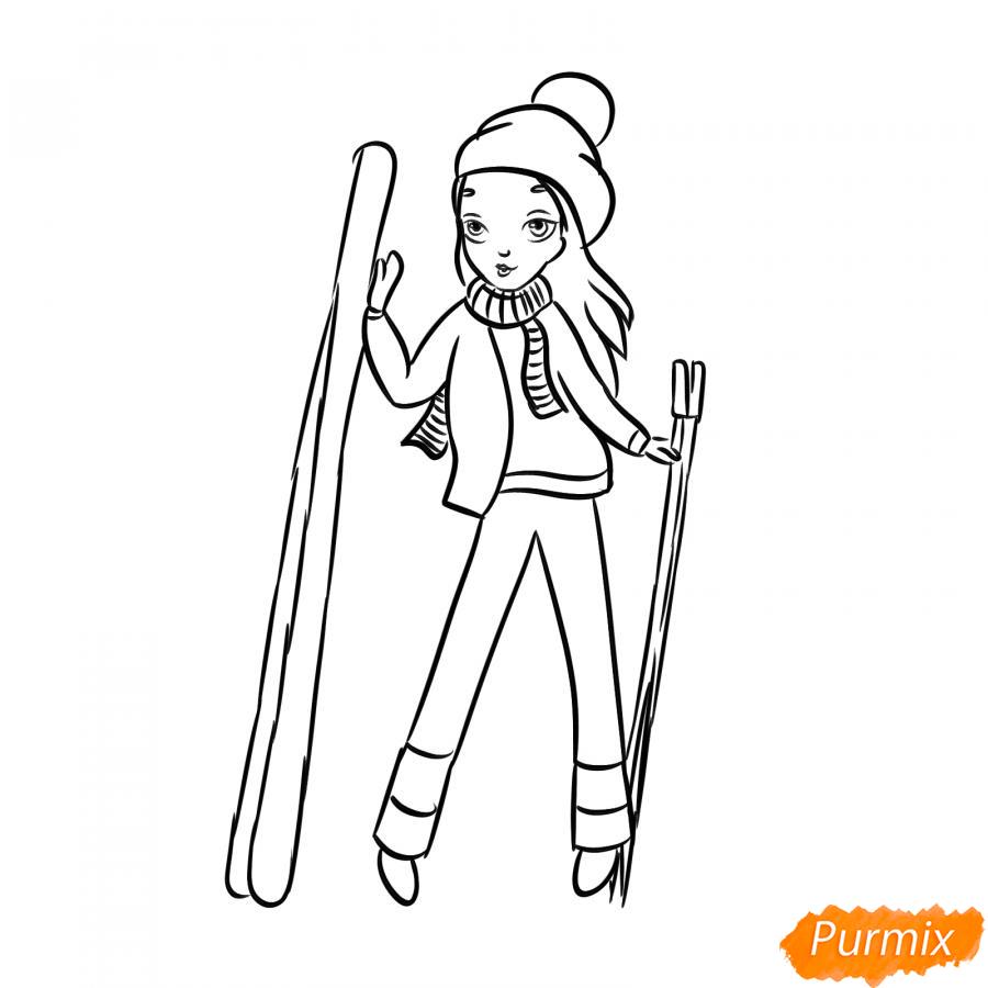 Рисуем лыжника девушку - шаг 6