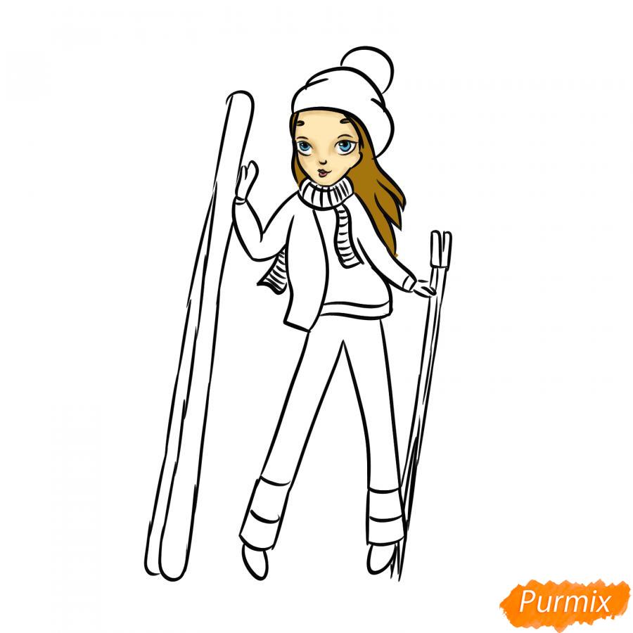 Рисуем лыжника девушку - шаг 7