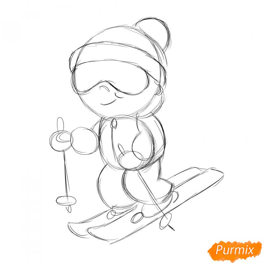 Рисуем лыжника - шаг 3
