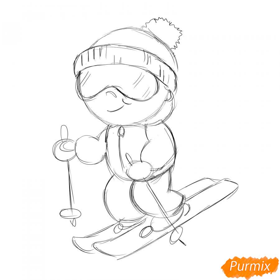 Рисуем лыжника - шаг 4