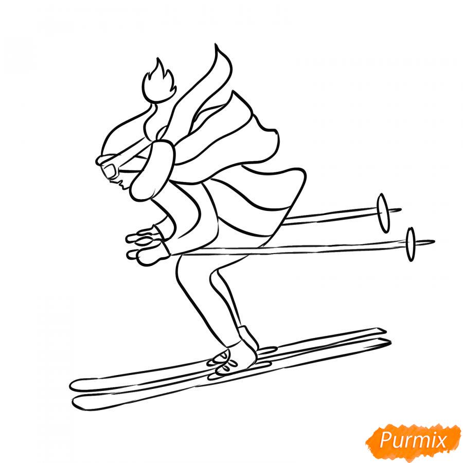 Рисуем лыжника в движении - шаг 5