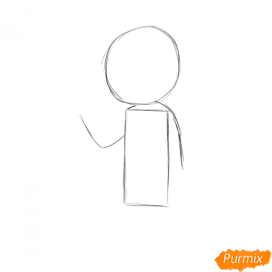 Рисуем маляра девушку - шаг 1