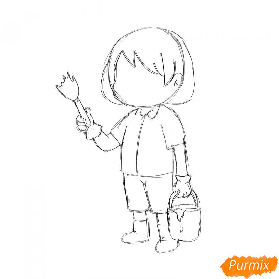 Рисуем маляра девушку - шаг 3
