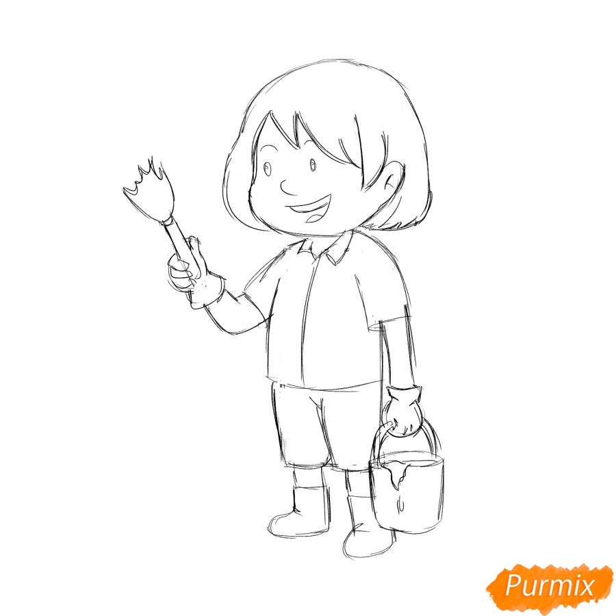 Рисуем маляра девушку - шаг 4