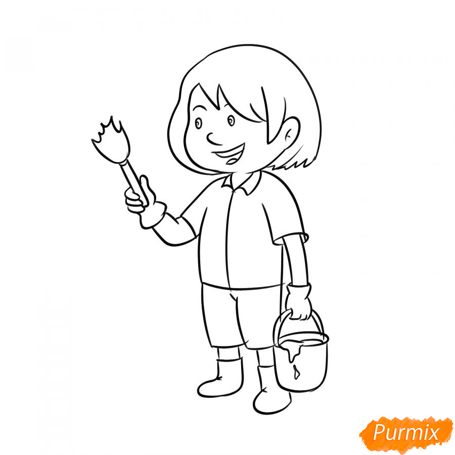 Рисуем маляра девушку - шаг 5