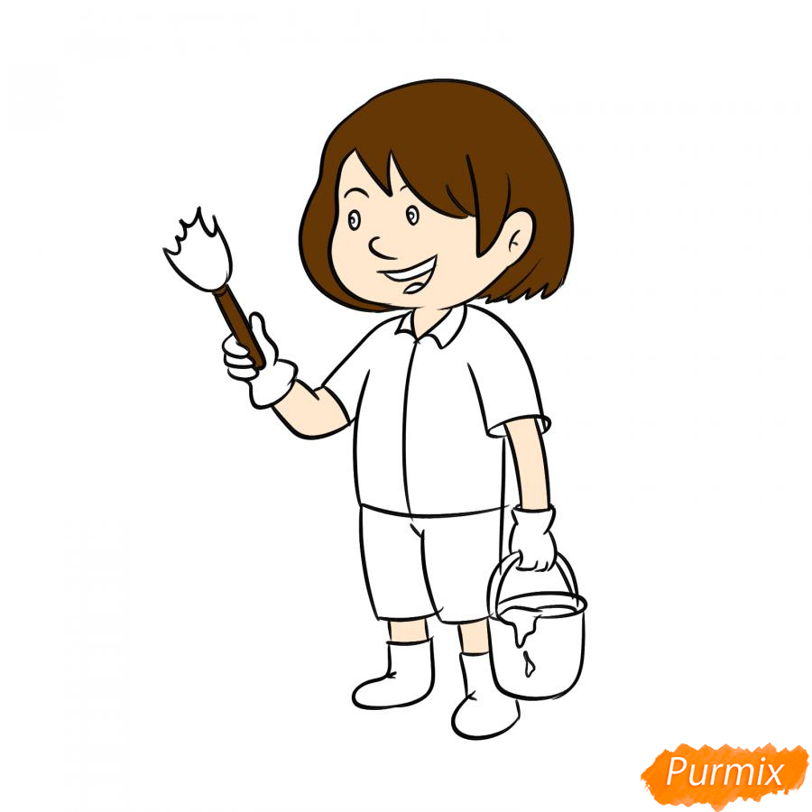 Рисуем маляра девушку - шаг 6