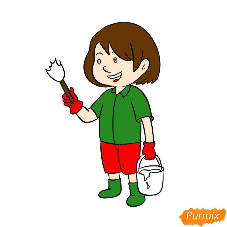 Рисуем маляра девушку - шаг 7