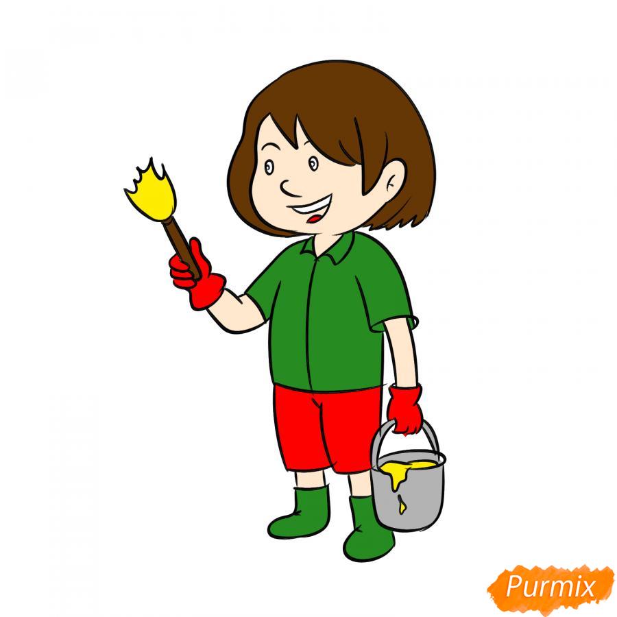 Рисуем маляра девушку - шаг 8