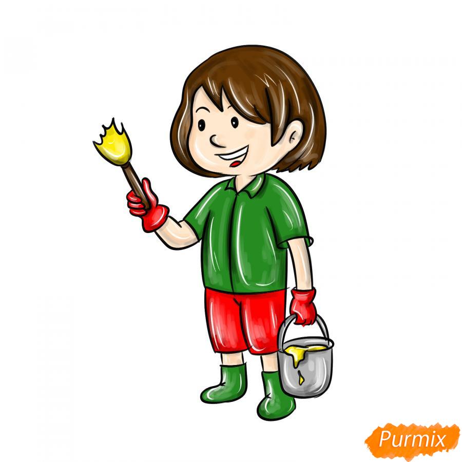 Рисуем маляра девушку - шаг 9