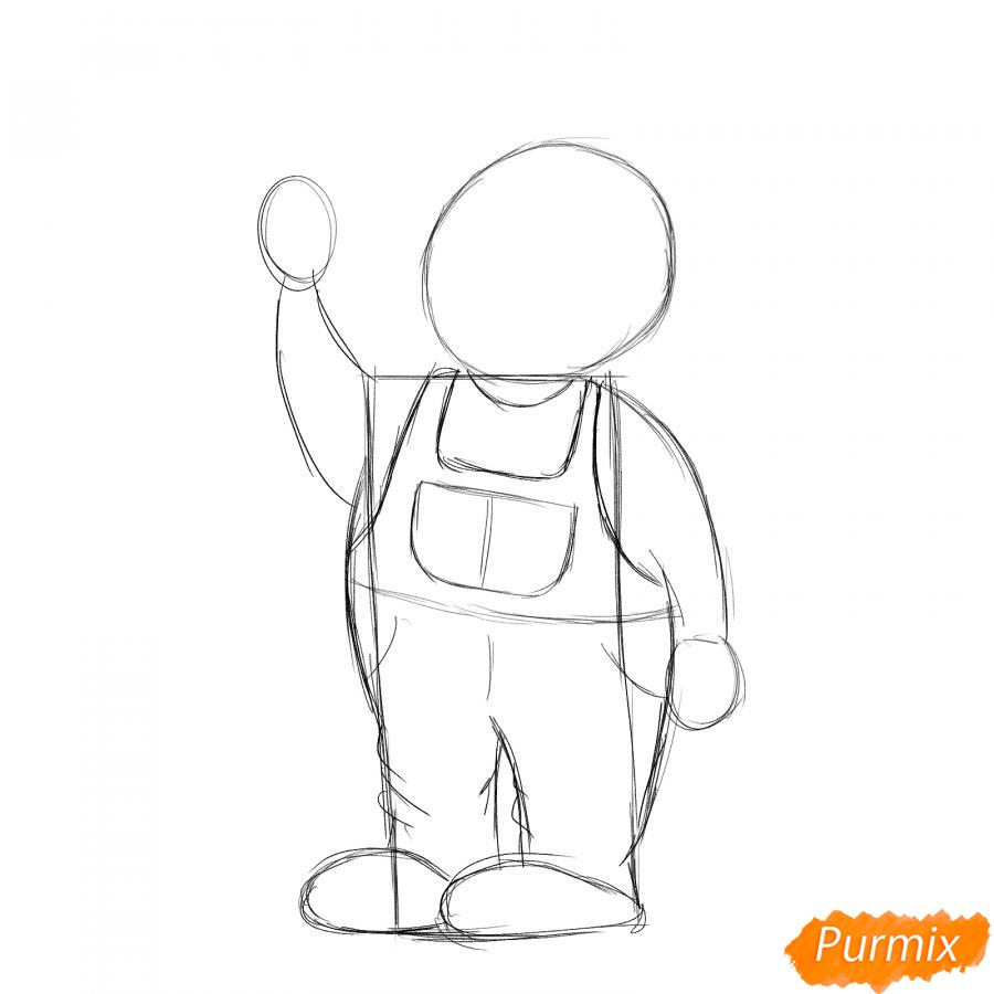 Рисуем маляра карандашами - шаг 3