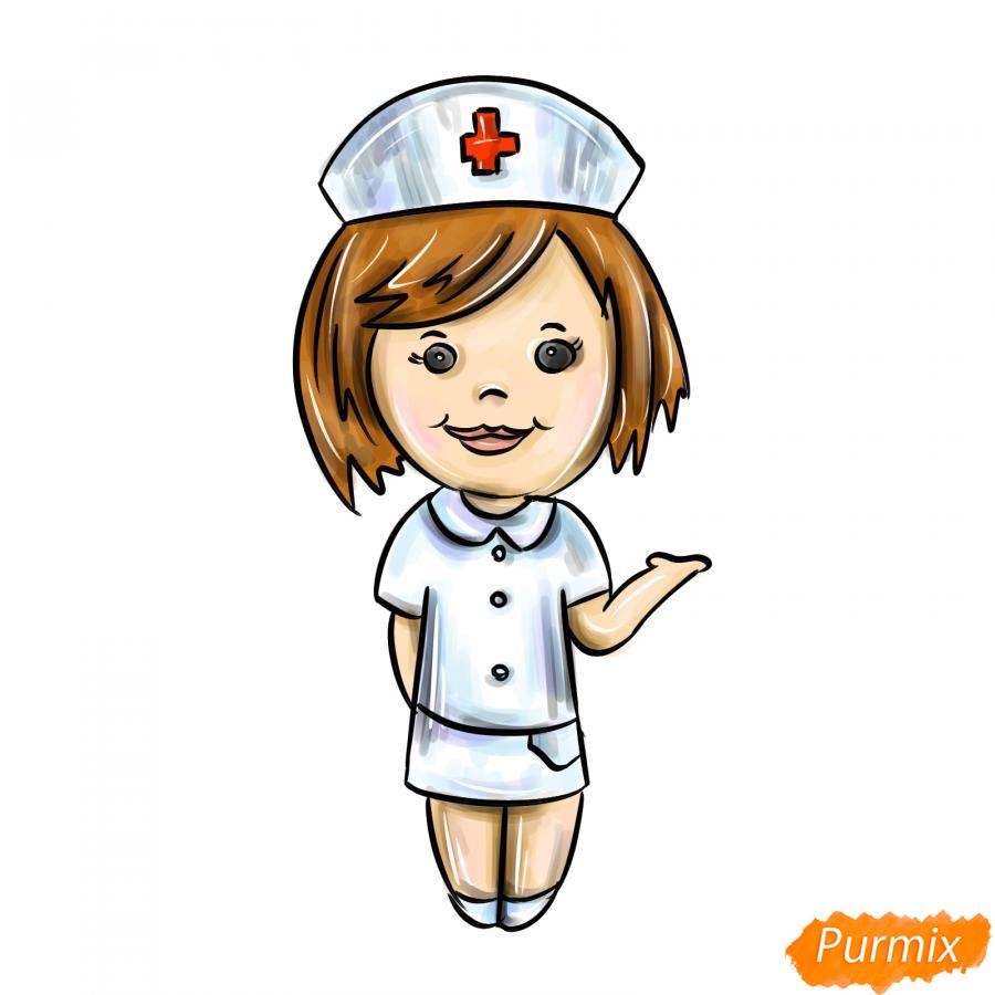 Рисуем медсестру легко детям - шаг 10