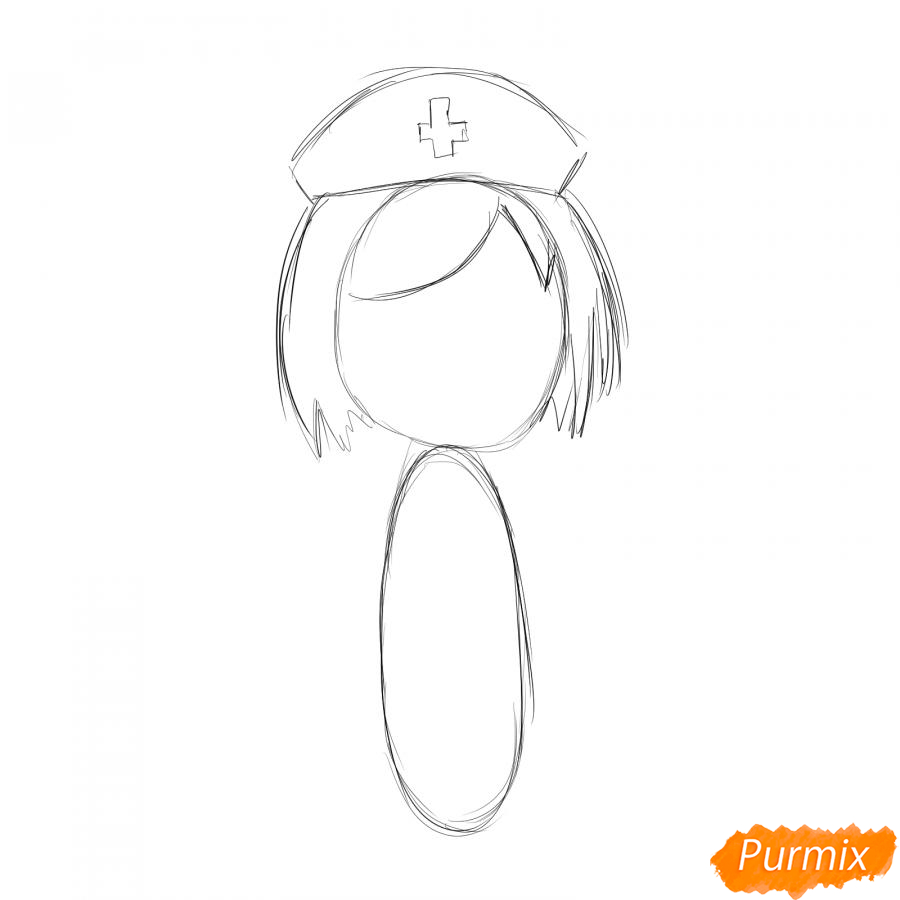 Рисуем медсестру легко детям - шаг 2