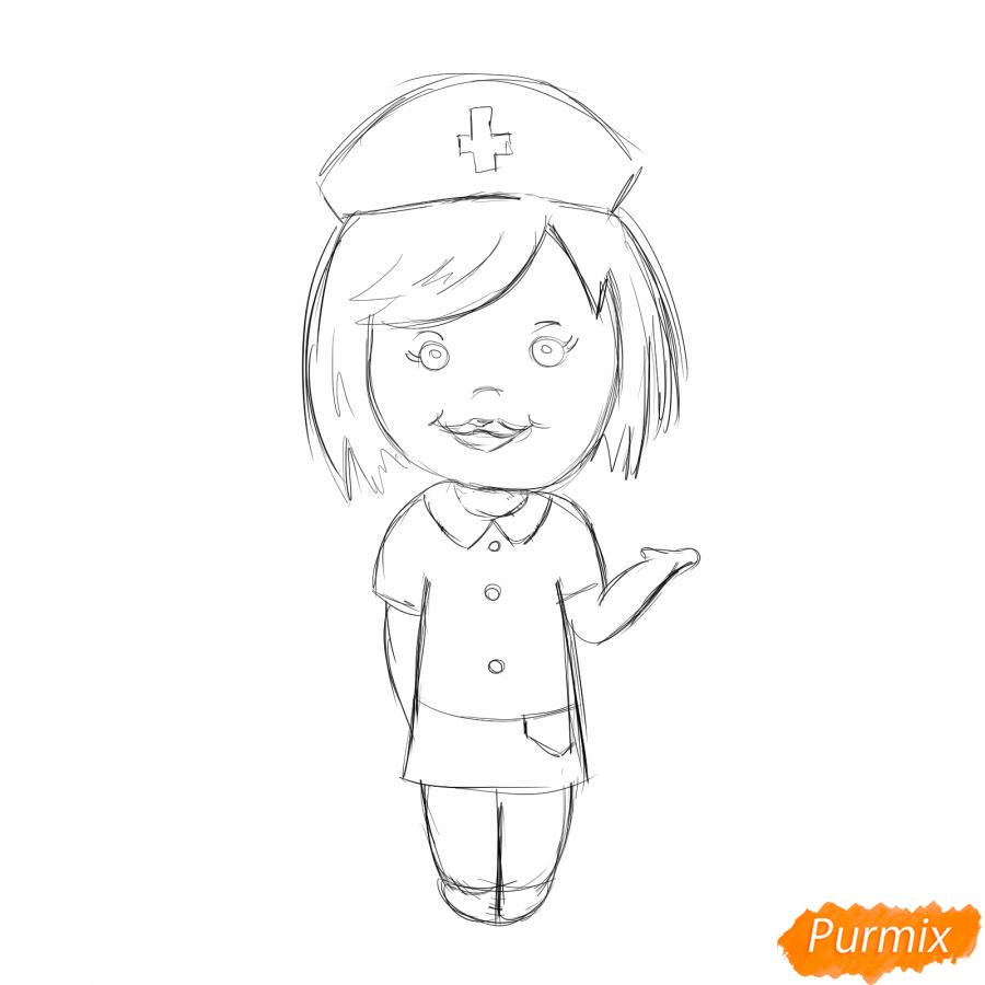 Рисуем медсестру легко детям - шаг 5