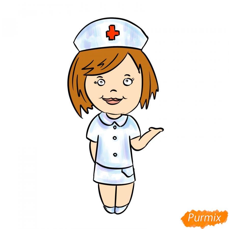 Рисуем медсестру легко детям - шаг 8