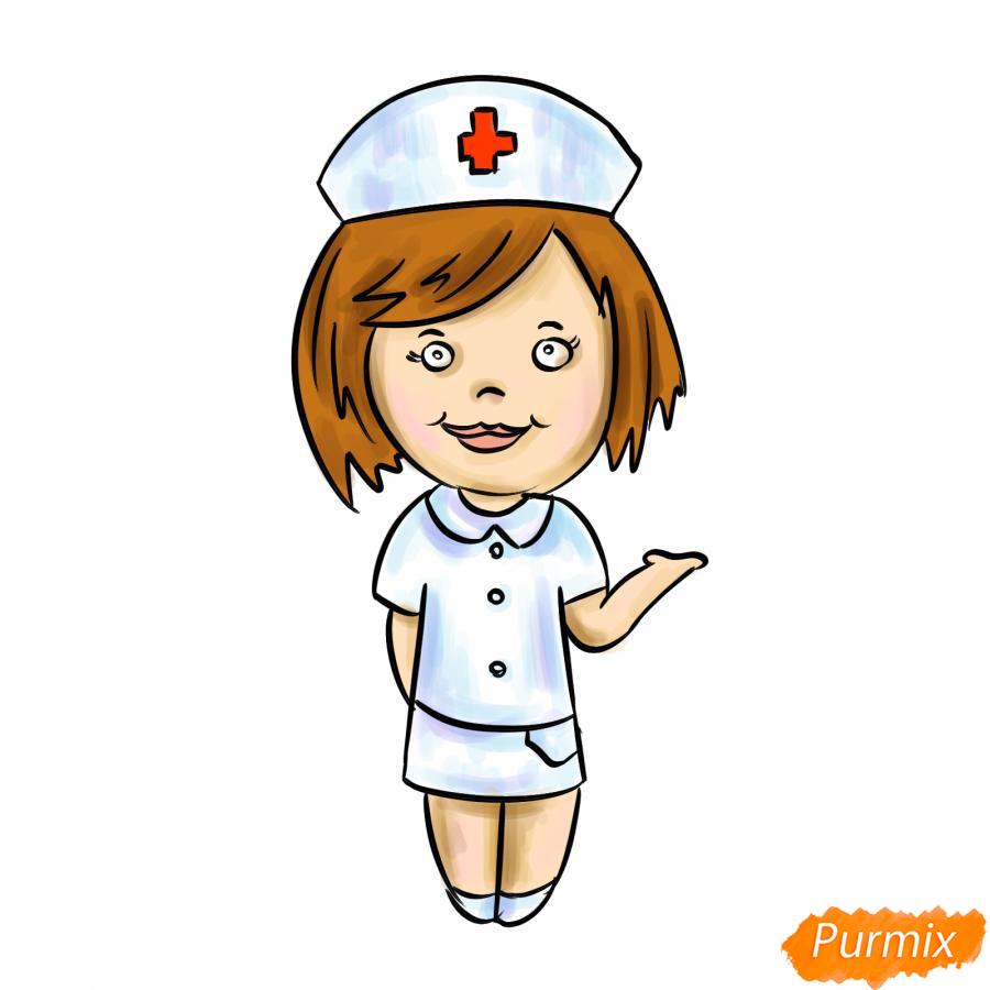 Рисуем медсестру легко детям - шаг 9