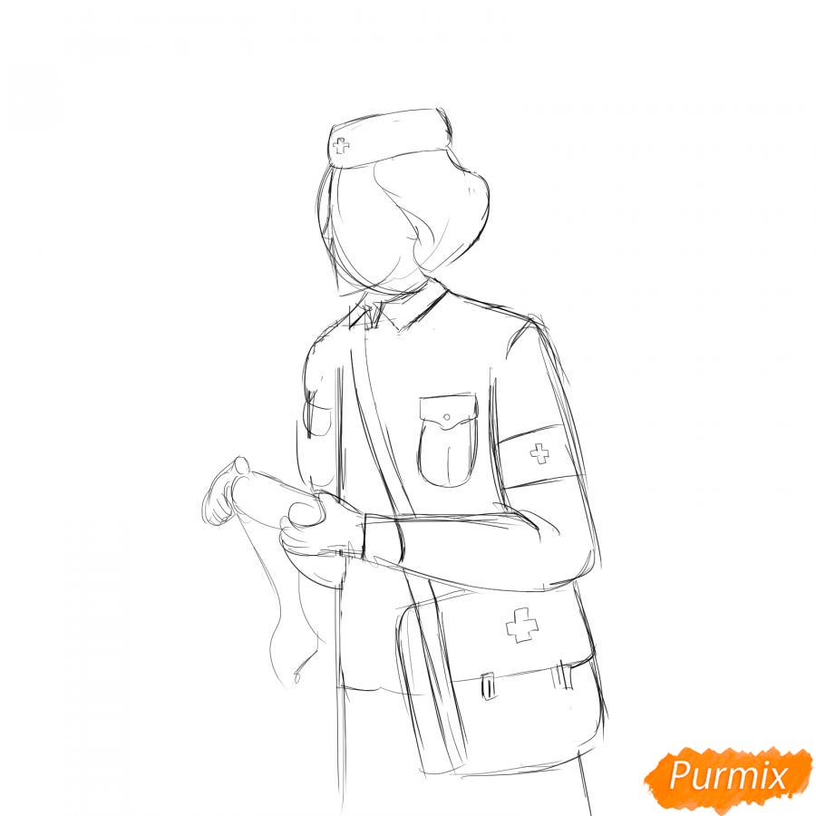 Рисуем медсестру на войне - шаг 3