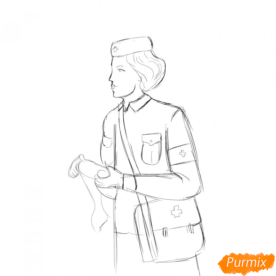 Рисуем медсестру на войне - шаг 4