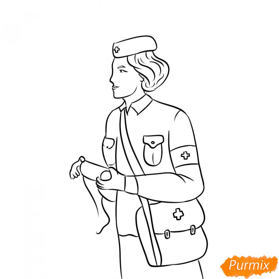 Рисуем медсестру на войне - шаг 5
