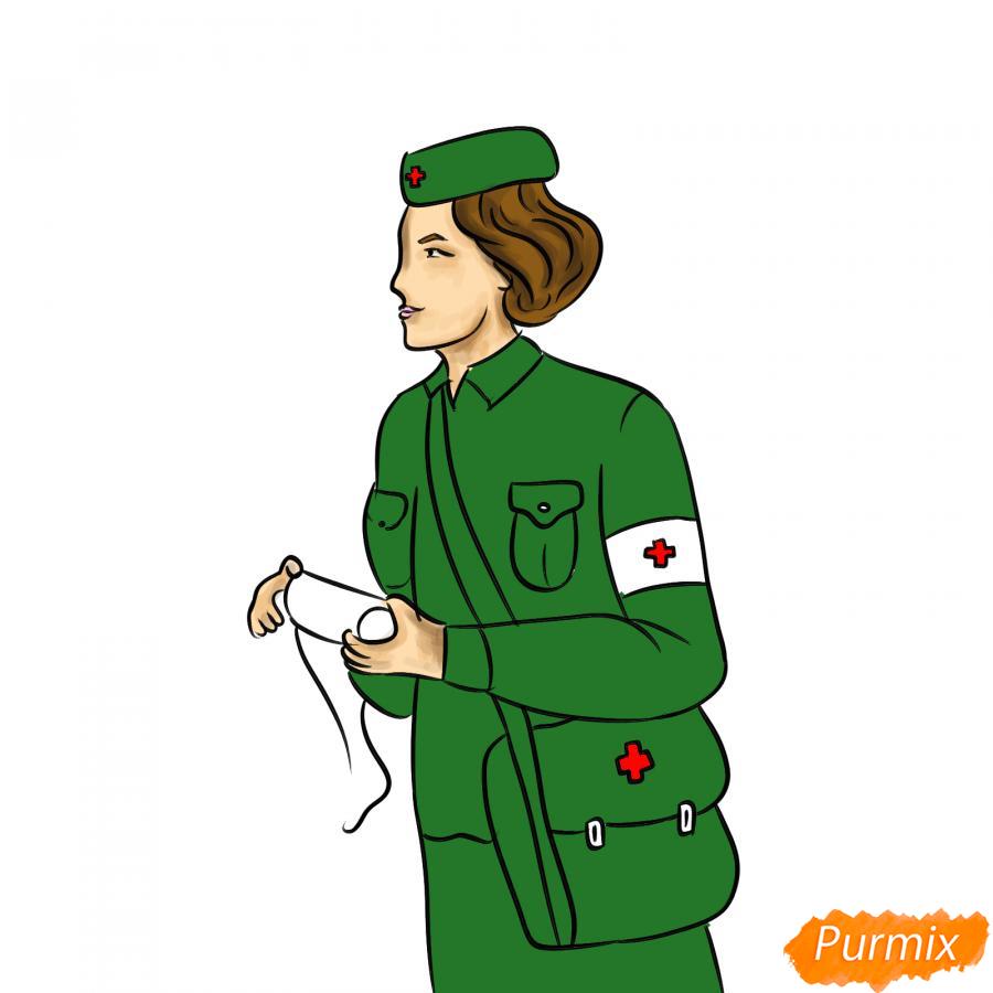 Рисуем медсестру на войне - шаг 7