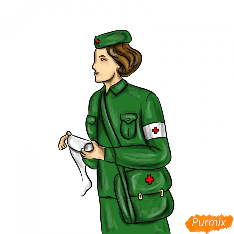 Рисуем медсестру на войне - шаг 8