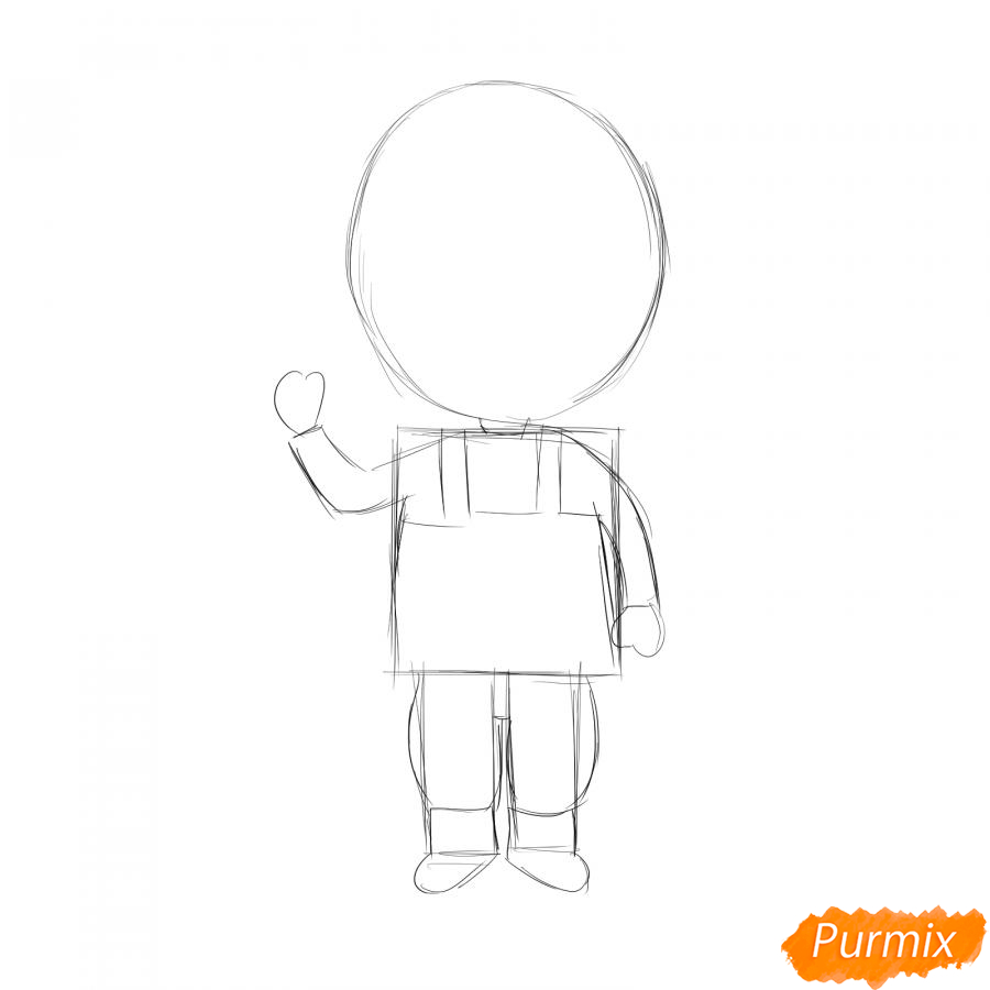 Рисуем мультяшного солдата - шаг 2