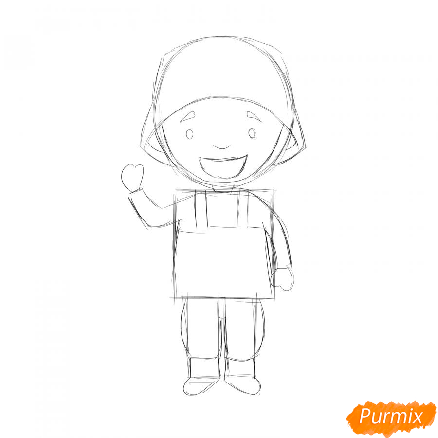 Рисуем мультяшного солдата - шаг 3