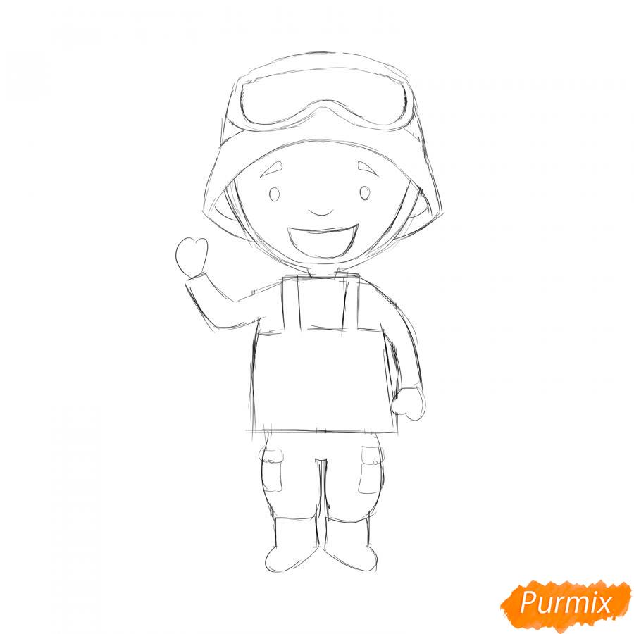 Рисуем мультяшного солдата - шаг 4