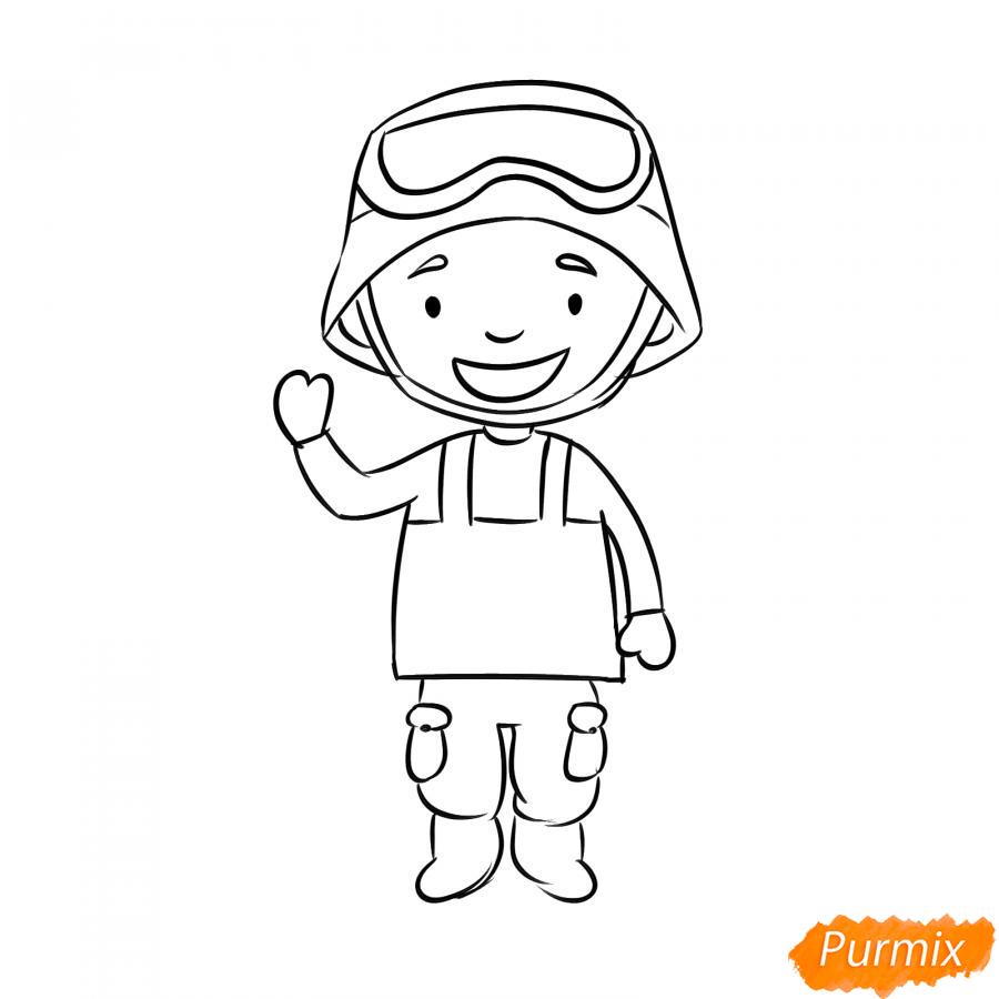 Рисуем мультяшного солдата - шаг 5