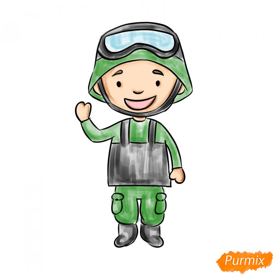 Рисуем мультяшного солдата - шаг 8
