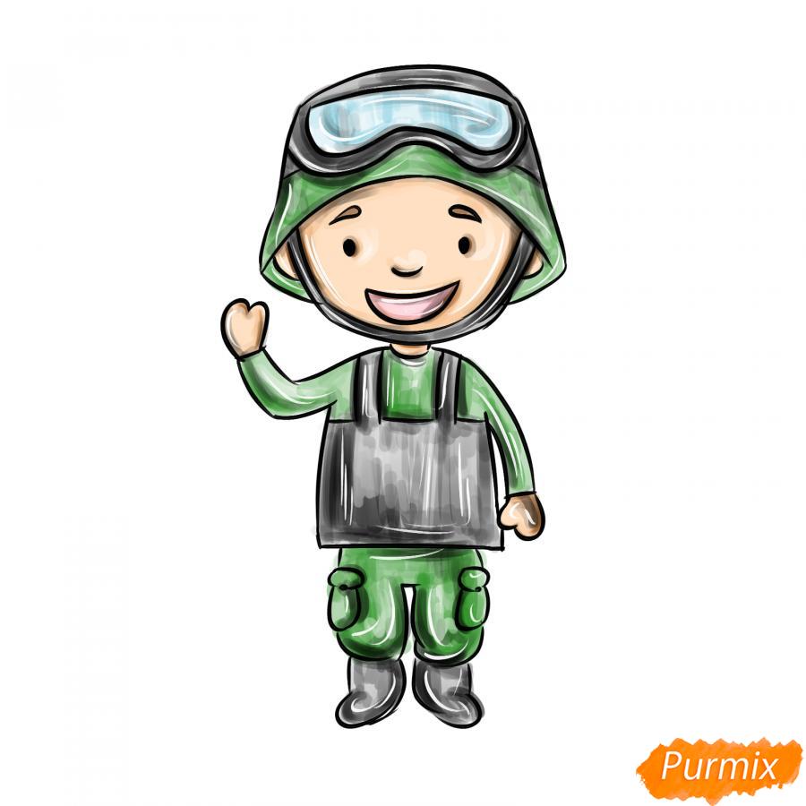 Рисуем мультяшного солдата - шаг 9