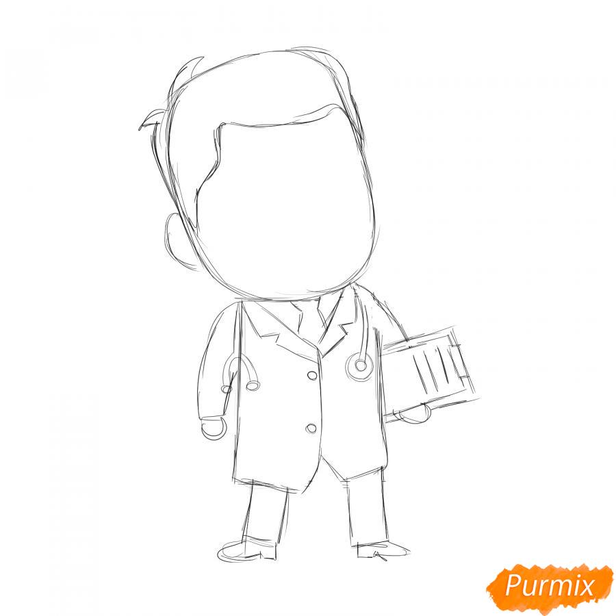 Рисуем мультяшного врача - шаг 3