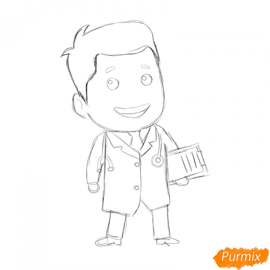 Рисуем мультяшного врача - шаг 4