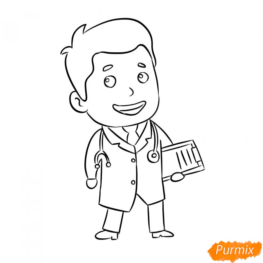 Рисуем мультяшного врача - шаг 5