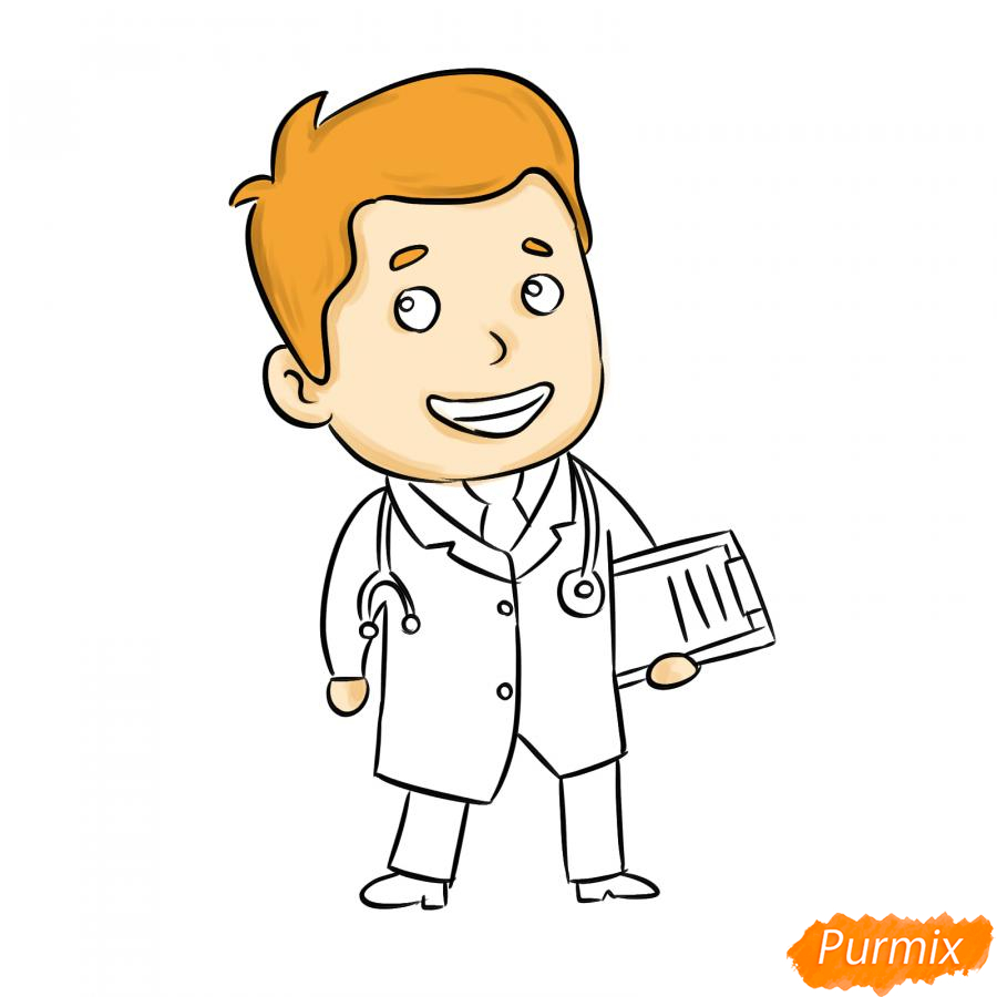 Рисуем мультяшного врача - шаг 6