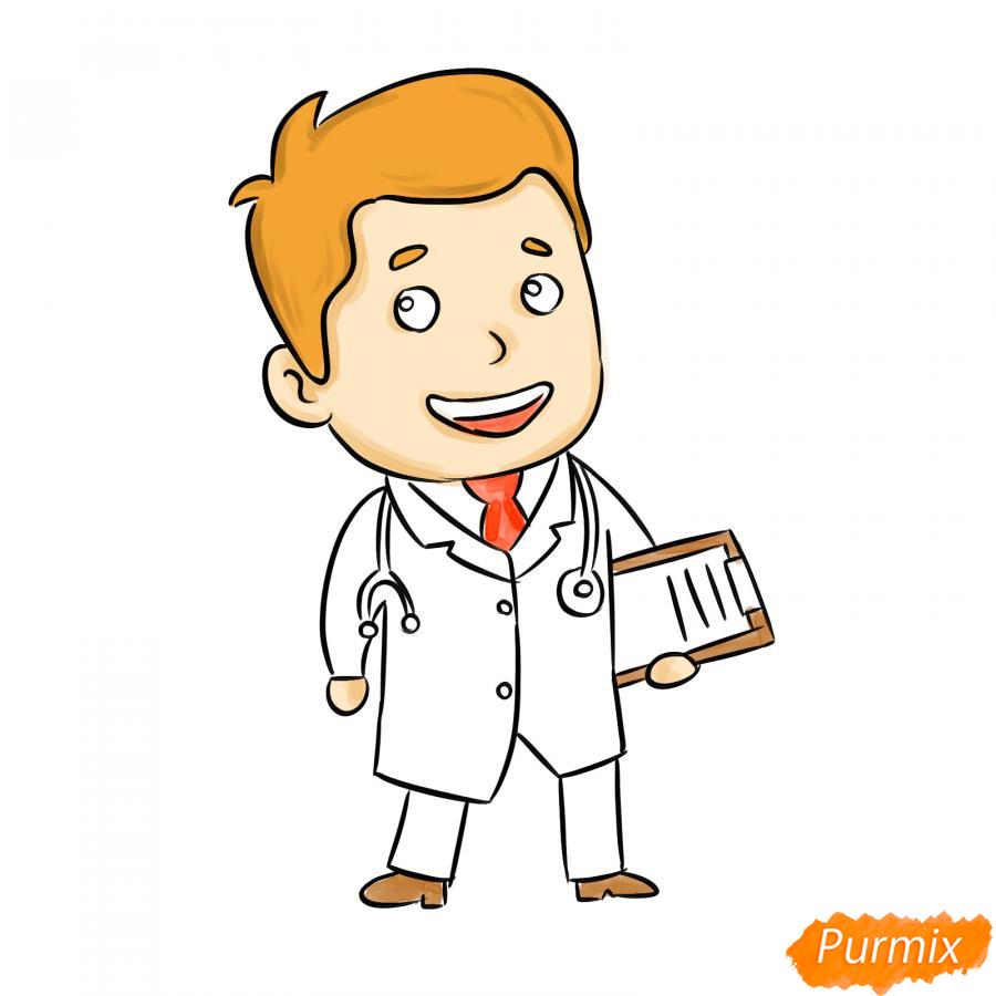 Рисуем мультяшного врача - шаг 7