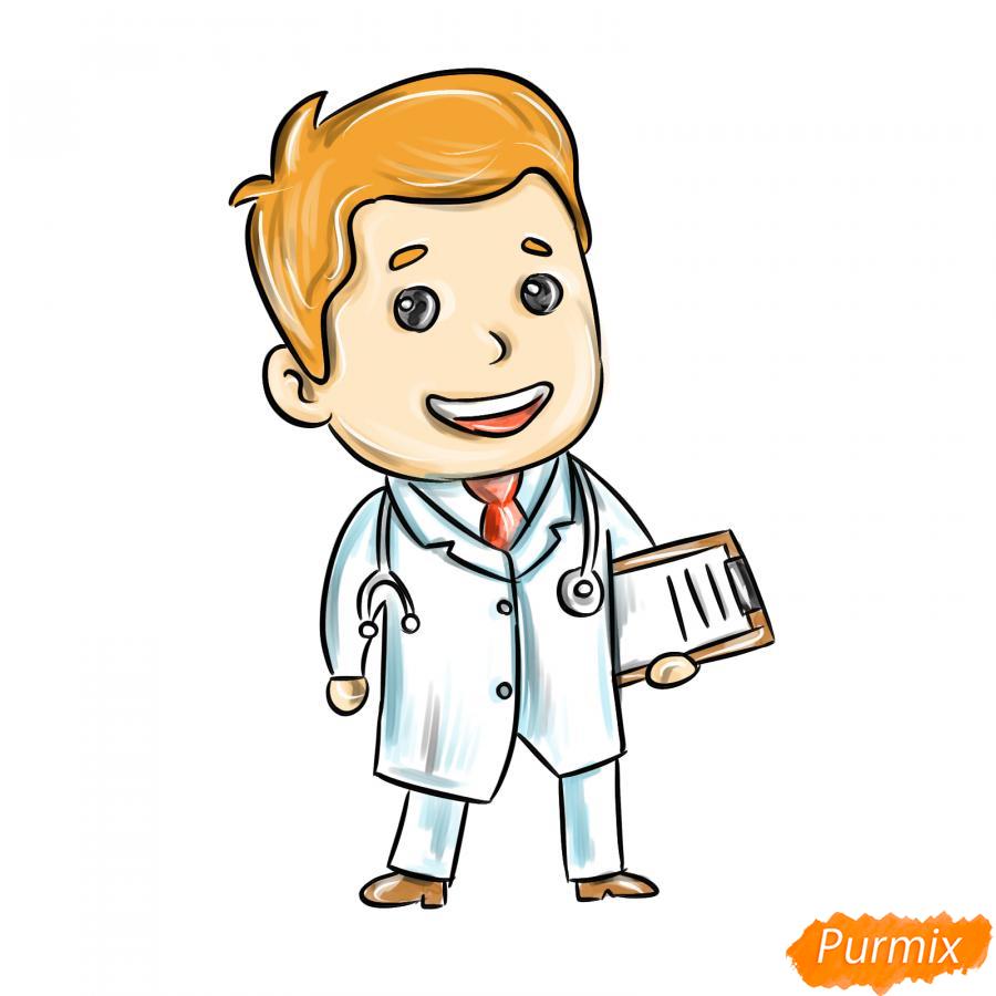 Рисуем мультяшного врача - шаг 8