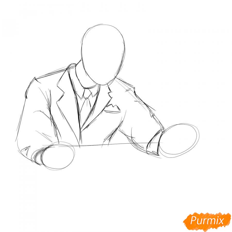 Рисуем мужчину бухгалтера - шаг 2