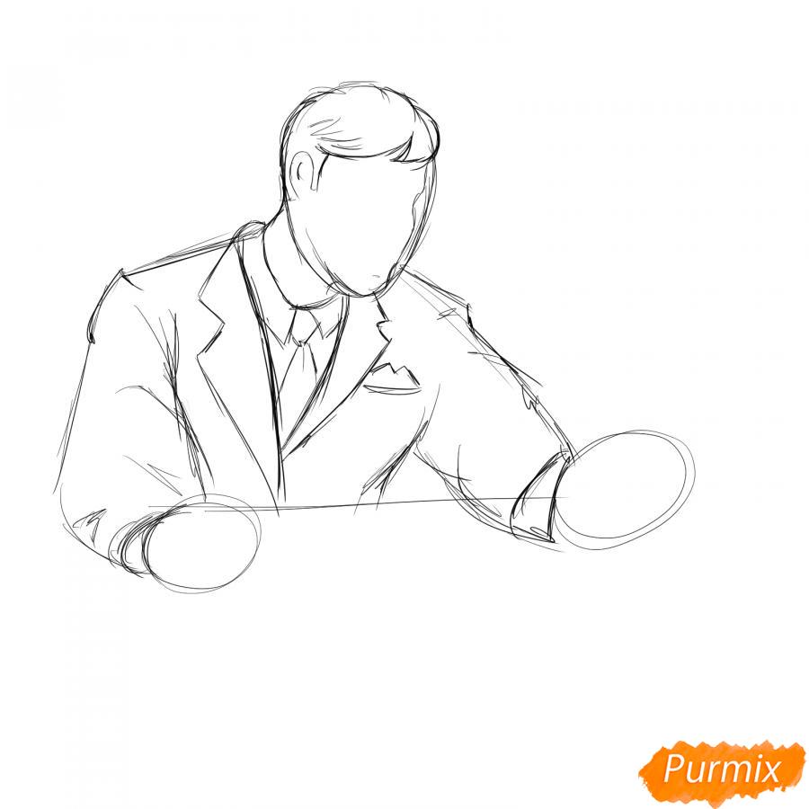 Рисуем мужчину бухгалтера - шаг 3