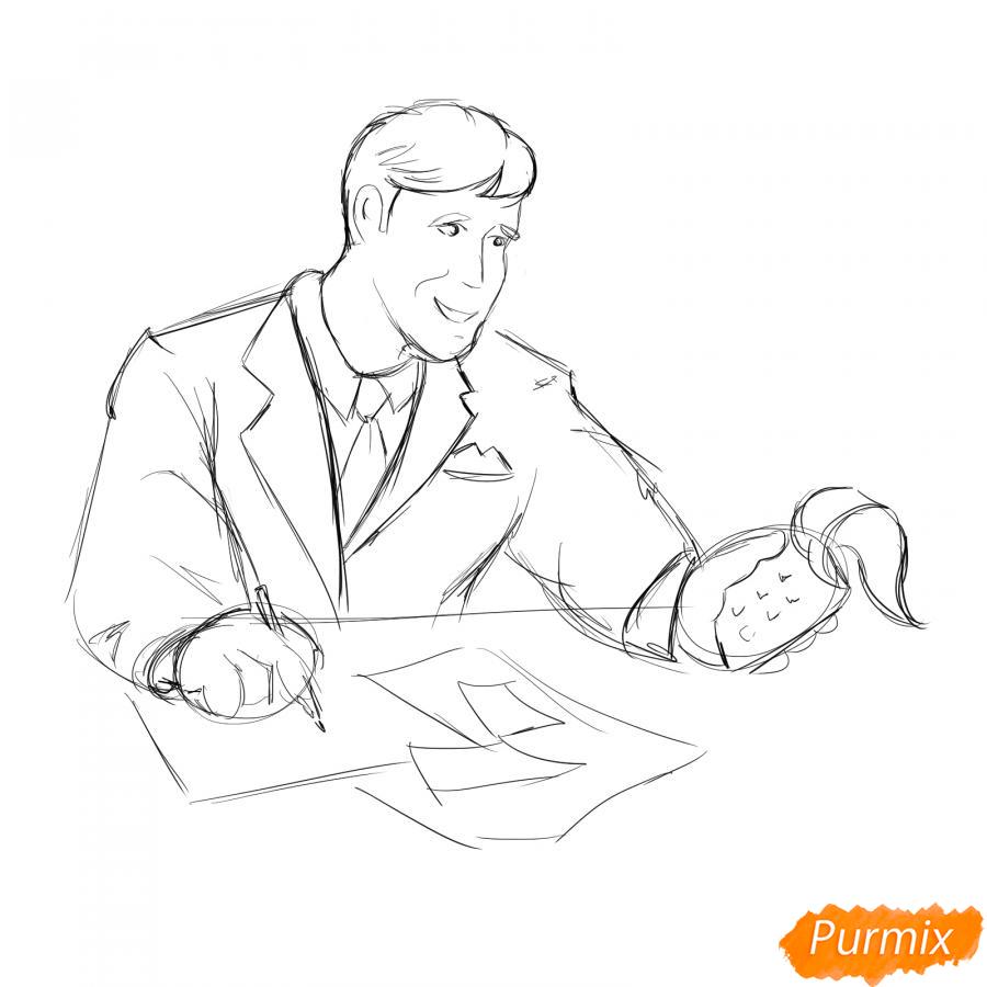 Рисуем мужчину бухгалтера - шаг 4